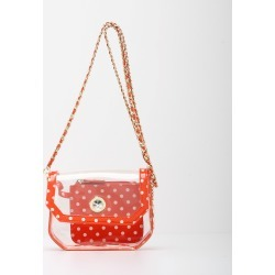 Clear Stadium Shoulder Bag Orange & White Chrissy Small by SCORE! The Official Game Day Bag