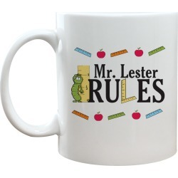 Personalized  Teacher Rules Coffee Mug White 11oz