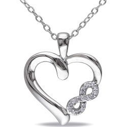 Diamond-Accent Heart Infinity Necklace in Sterling Silver