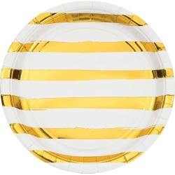 White and Gold Foil Striped Paper Plates - 24 Count