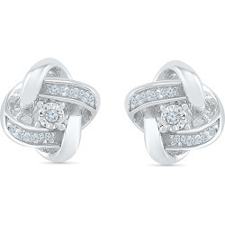 Diamond Accent Knotted Stud Earrings in Sterling Silver found on Bargain Bro India from balfour for $132.99
