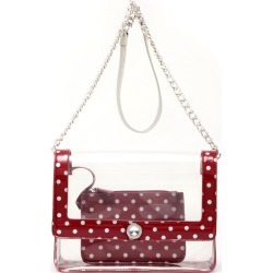 Clear Stadium Shoulder Bag Maroon & Silver Chrissy Medium by SCORE! The Official Game Day Bag