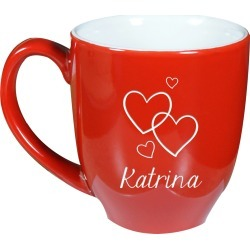 Happy Hearts Red Personalized Coffee Mug
