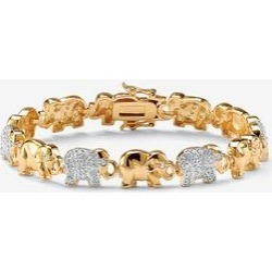 Plus Size Women's Gold-Plated Round Elephant Charm Bracelet Cubic Zirconia by PalmBeach Jewelry (Size 0) found on Bargain Bro India from Roamans.com for $59.99