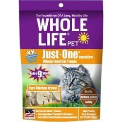 Whole Life Just One Ingredient Pure Chicken Breast Freeze-Dried Cat Treats, 9-oz bag found on Bargain Bro from Chewy.com for USD $15.19