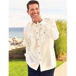 Blair Men's John Linen-Look Pilot Shirt, Ivory, Size 3XL found on Bargain Bro India from Blair.com for $37.99
