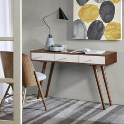 Madison Park 3 Drawer Writing Desk in White/Pecan - Olliix MP122-0900 found on Bargain Bro India from totally furniture for $271.99