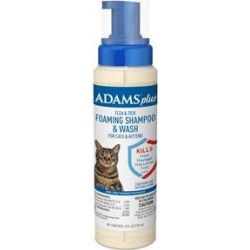 Adams Plus Flea & Tick Foaming Shampoo for Cats, 10-oz bottle