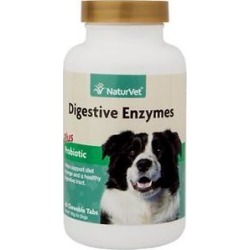 NaturVet Digestive Enzymes with Probiotics Dog & Cat Tablets, 60 count