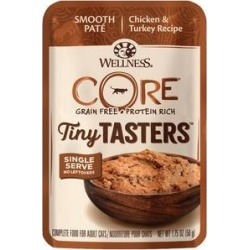 Wellness CORE Tiny Tasters Chicken & Turkey Pate Grain-Free Cat Food Pouches, 1.75-oz, pack of 12
