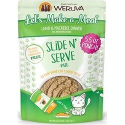 Weruva Slide N' Serve Let's Make a Meal Lamb & Mackerel Dinner Pate Grain-Free Cat Food Pouches, 5.5-oz pouch, case of 12