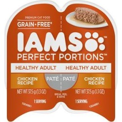 Iams Perfect Portions Healthy Adult Chicken Recipe Pate Grain-Free Cat Food Trays, 2.6-oz, case of 24 twin-packs