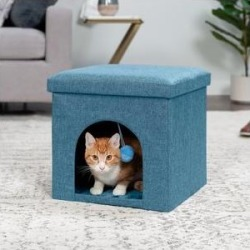 FurHaven House Footstool & Ottoman Dog & Cat Bed, Ocean Blue, Small found on Bargain Bro Philippines from Chewy.com for $24.99