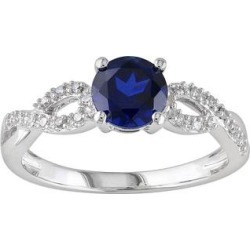 Stella Grace Lab-Created Sapphire and 1/10 Carat T.W. Diamond Engagement Ring in 10k White Gold, Women's, Size: 9, Blue found on Bargain Bro India from Kohl's for $304.00