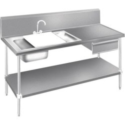 Advance Tabco DL-30-96 Stainless Steel Prep Table with Sinks, Drawer, Cutting Board and Undershelf - 96""