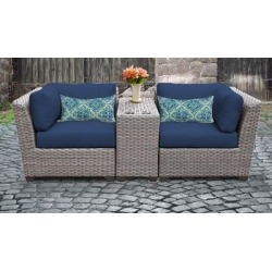 Florence 3 Piece Outdoor Wicker Patio Furniture Set 03b in Navy - TK Classics Florence-03B-Navy found on Bargain Bro India from totally furniture for $710.99