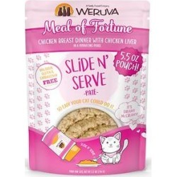 Weruva Slide N' Serve Meal of Fortune Chicken Breast Dinner With Chicken Liver Pate Grain-Free Cat Food Pouches, 5.5-oz pouch, case of 12