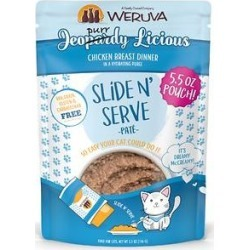 Weruva Slide N' Serve Jeopurrdy Licious Chicken Dinner Pate Grain-Free Cat Food Pouches, 5.5-oz pouch, case of 12