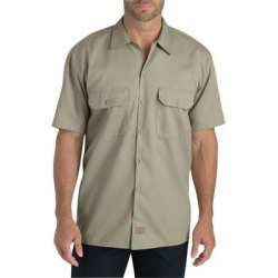 Dickies WS675 Men's FLEX Relaxed Fit Short-Sleeve Twill Work Shirt in Desert Sand size Medium | Polyester Blend found on Bargain Bro from ShirtSpace for USD $21.57