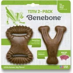 Benebone Tiny Bacon Flavor Dog Chew Toy, 2 count