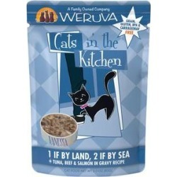 Weruva Cats in the Kitchen 1 If By Land, 2 If By Sea Tuna, Beef & Salmon Recipe Grain-Free Cat Food Pouches, 3-oz pouch, case of 12