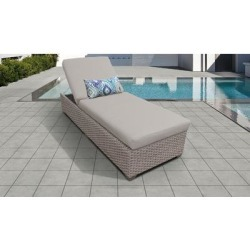 Florence Chaise Outdoor Wicker Patio Furniture in Beige - TK Classics Florence-1X-Beige found on Bargain Bro India from totally furniture for $476.99