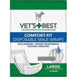 Vet's Best Comfort Fit Disposable Male Dog Wraps, 12 count, Large