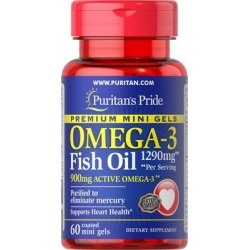 Puritan's Pride Omega-3 Fish Oil 1290 mg Mini Gels (900 mg Active Omega-3) Per Serving-60 Coated Softgels