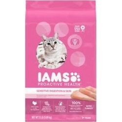 Iams Proactive Health Sensitive Digestion & Skin Turkey Dry Cat Food, 13-lb bag