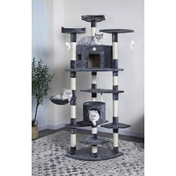 Go Pet Club 80-in Faux Fur Cat Tree & Condo, Gray found on Bargain Bro India from Chewy.com for $99.99