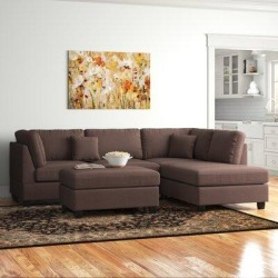 Andover Mills Hemphill Reversible Sectional with Ottoman ANDV3067 Upholstery: Chocolate