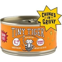 Tiny Tiger Chunks in Gravy Turkey Recipe Grain-Free Canned Cat Food, 3-oz, case of 24 found on Bargain Bro India from Chewy.com for $12.99