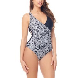 Sea and Sand Women's One Piece Swimsuits - Black & White Paisley Cut-Out Mio One Piece - Women found on Bargain Bro India from zulily.com for $12.99