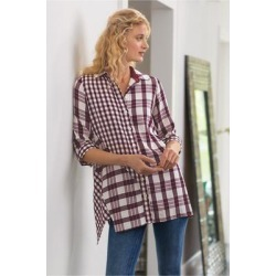 Women's Huntleigh Shirt by Soft Surroundings, in Wine/Ivory size XS (2-4)