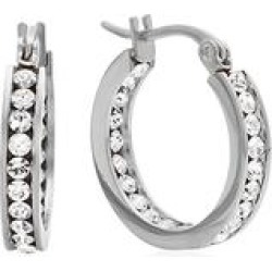 Steel Time Women's Earrings metallic - Stainless Steel 20-mm Hoop Earrings with Swarovski Crystals found on Bargain Bro India from zulily.com for $9.99