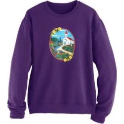 Women's Plus Graphic Sweatshirt, Deep Purple/Church 2XL found on Bargain Bro Philippines from Blair.com for $28.99