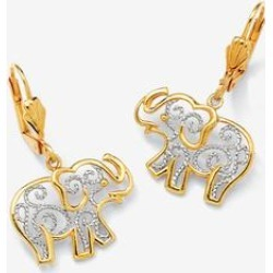 Women's Yellow Gold-Plated Filigree Elephant Drop Earrings by PalmBeach Jewelry in Yellow Gold found on Bargain Bro Philippines from Ellos for $39.99