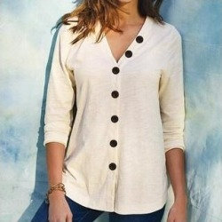 V-Neck Button Long Sleeve Shirt Cotton Cardigan (White - L), Women's found on Bargain Bro from Overstock for USD $26.27