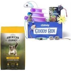 Goody Box Toys & Treats + American Journey Kitten Chicken Recipe Dry Cat Food