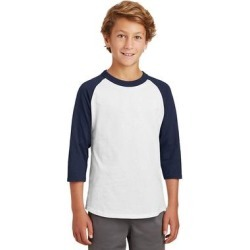 Sport-Tek YT200 Youth Colorblock Raglan Jersey T-Shirt in White/Navy Blue size XL | Cotton found on Bargain Bro India from ShirtSpace for $7.74