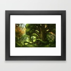 Framed Art Print | Green Dragon by Sandara - Vector Black - X-Small-10x12 - Society6 found on Bargain Bro India from Society6 for $40.79
