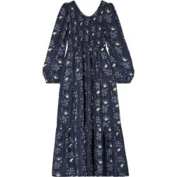 Olivia Smocked Floral-print Silk-satin Maxi Dress - Blue - Apiece Apart Dresses found on MODAPINS from lyst.com for USD $268.00