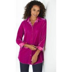 Women's Petites Velvet Boyfriend Shirt by Soft Surroundings, in Fiery Fuchsia size PXS (2-4)