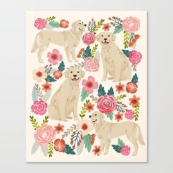 Canvas Print | Golden Retrievers Must Have Florals Cream Pastel Gender Neutral Dog Art Cute Pet Portraits Labrador by Petfriendly - LARGE - Society6 found on Bargain Bro Philippines from Society6 for $133.69