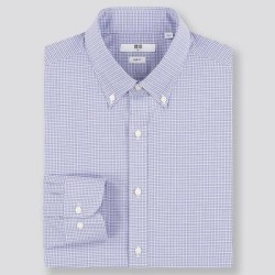 UNIQLO Men's Easy Care Checked Slim-Fit Long-Sleeve Shirt, Blue, XXL found on Bargain Bro India from Uniqlo for $29.90