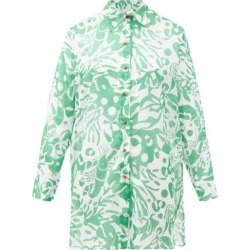 Turtle Coralsand-print Cotton Shirt Cover Up - Green - Eres Tops found on MODAPINS from lyst.com for USD $439.00