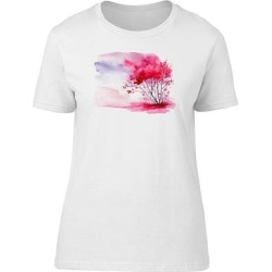 Pink Vintage Watercolor Trees Tee Women's -Image by Shutterstock (S), White(cotton, Graphic) found on Bargain Bro Philippines from Overstock for $13.29