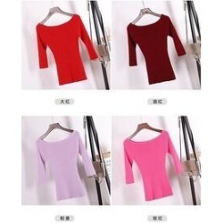 New Korean Slim Body Collar Mid Sleeve Bottoming Shirt Sweater (Red - M), Women's(polyester, solid) found on Bargain Bro India from Overstock for $39.91