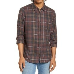 Hurley Mens Shirt Red Brown Large L Vedder Classic Washed Plaid Flannel (L), Men's found on Bargain Bro from Overstock for USD $21.26