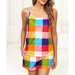Vrkufie Women's Casual Shorts Rainbow - Pink & Blue Plaid Tank & Pocket Shorts - Women & Plus found on Bargain Bro India from zulily.com for $24.99